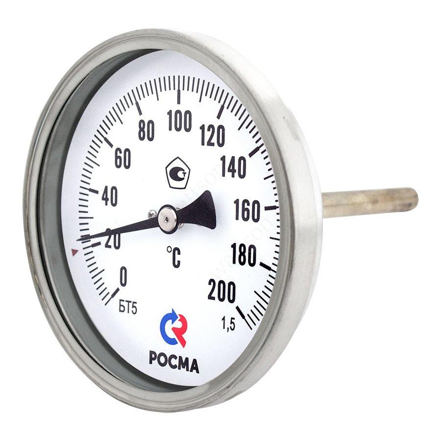 Термометр БТ-51.211 (0 - 200°С) 100 мм, задн. подкл. G1/2, шток 64 мм, класс 1.5
